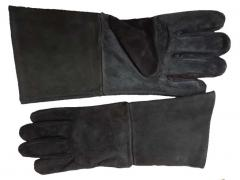 Suede Leather Gloves - Black Large